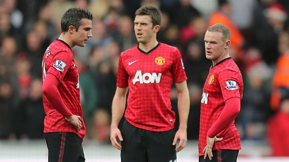 Robin van Persie, Michael Carrick and Wayne Rooney show their frustration after Swansea's equaliser