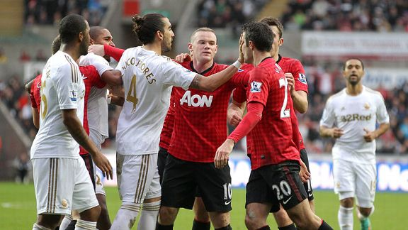 Robin van Persie attempts to confront Ashley Williams