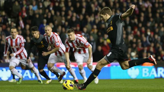 Steven Gerrard scored an early penalty for Liverpool at Stoke's Britannia Stadium