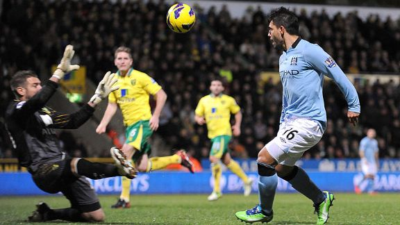 Sergio Aguero scores to put Manchester City 3-1 up