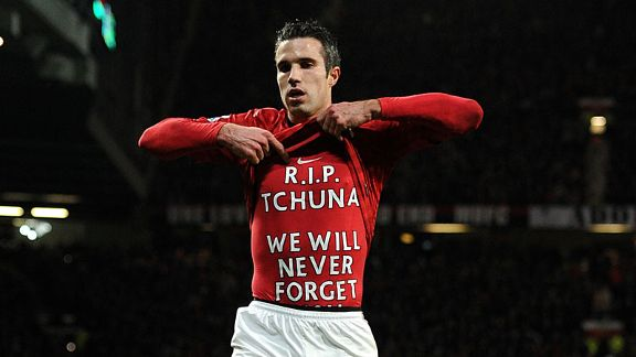 Robin van Persie pays his respects after netting Manchester United's second in the victory over West Brom