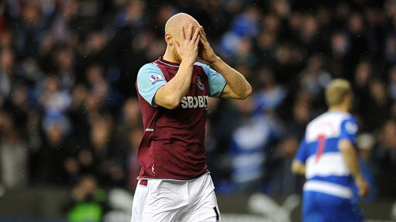 James Collins shows his frustration as West Ham go behind against Reading