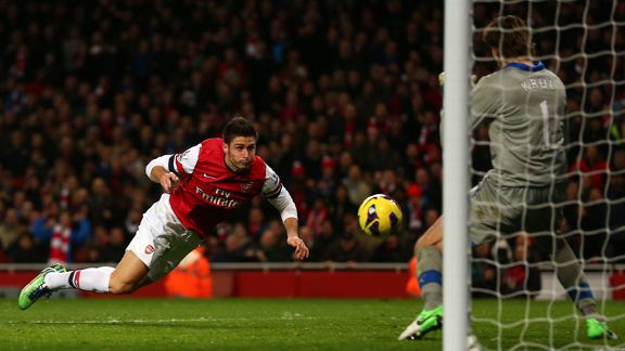Substitute Olivier Giroud heads home to put Arsenal 5-3 ahead
