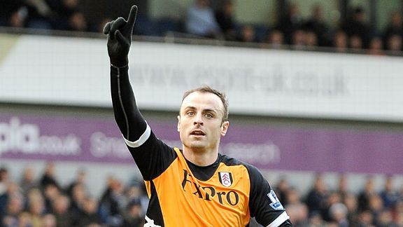 Dimitar Berbatov celebrates after firing Fulham into the lead at West Brom