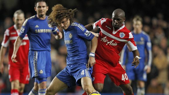 David Luiz and Stephane Mbia battle it out in a fierce west London derby