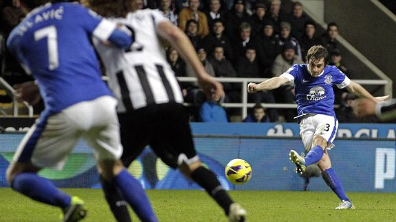 Leighton Baines scores a long-range free-kick against Newcastle
