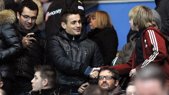 Lille defender Mathieu Debuchy in the crowd at St James' Park ahead of a move to Newcastle