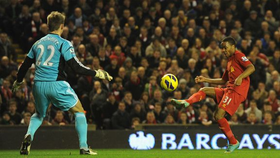 Raheem Sterling scores Liverpool's opener against Sunderland