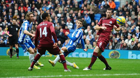 Andrea Orlandi fires Brighton into the lead against Newcastle