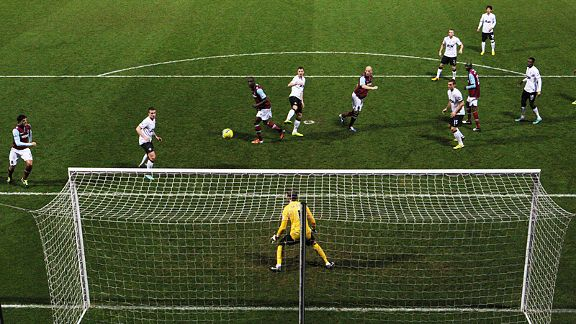James Collins heads home West Ham's second goal against Manchester United