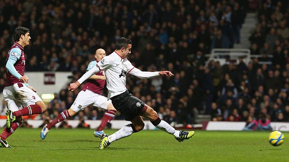 Robin van Persie earns Man United a replay with a late leveller at West Ham
