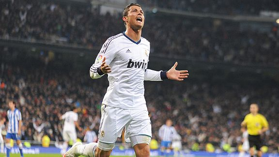 Cristiano Ronaldo celebrates after scoring Real's third goal against Sociedad