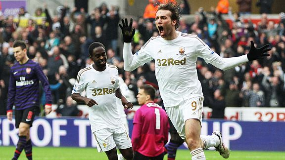 Michu needed a matter of seconds to put Swansea in front against Arsenal after coming on as a substitute