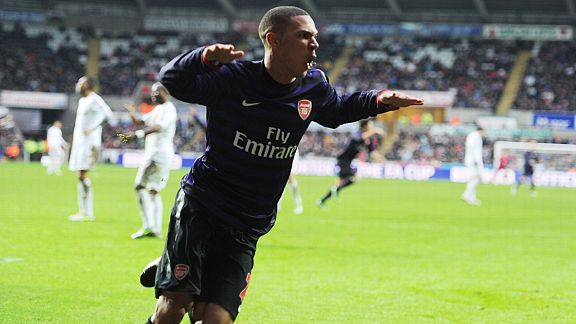 Kieran Gibbs put Arsenal in front at Swansea with a fine volley