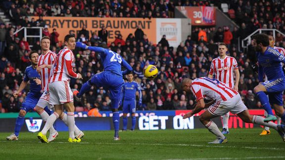 Jon Walters heads through his own net against Chelsea