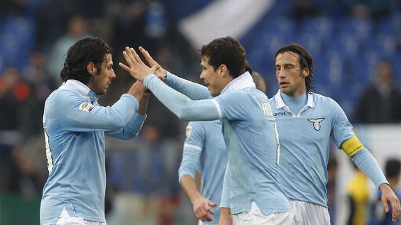 Sergio Floccari and Hernanes celebrate Lazio's Serie A win against Atalanta