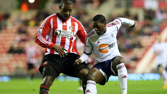 Bolton goalscorer Marvin Sordell in FA Cup action against Sunderland