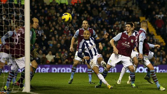 Peter Odemwingie fires West Brom level against Aston Villa