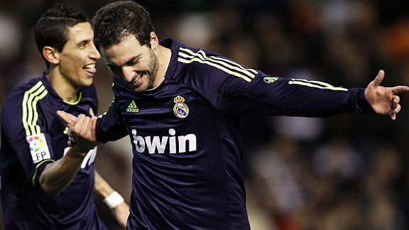 Gonzalo Higuain celebrates after scoring Real's opening goal at Valencia