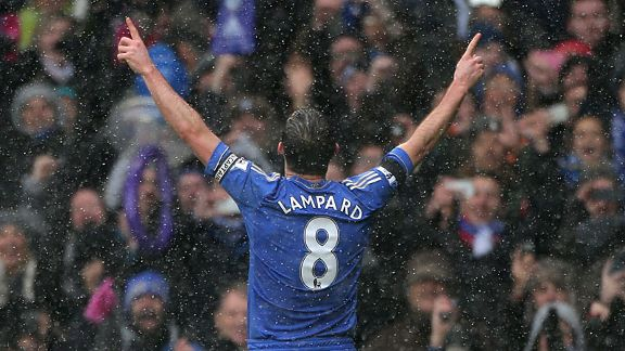 Frank Lampard celebrates after scoring from the penalty spot