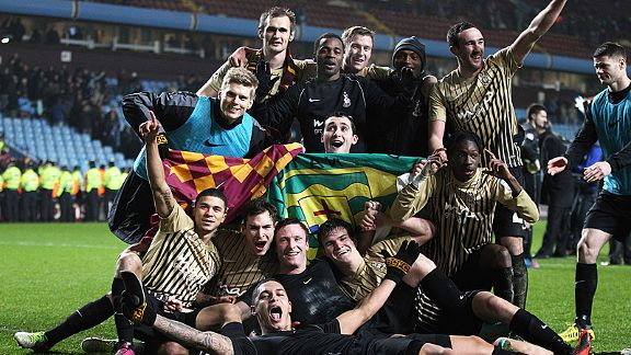 Bradford City celebrate with their famous victory