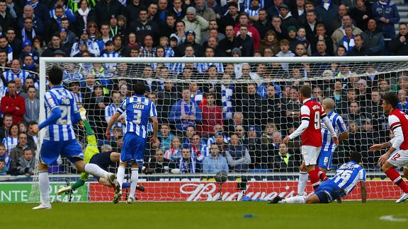 Olivier Giroud looks on as his strike finds the back of the net at Brighton