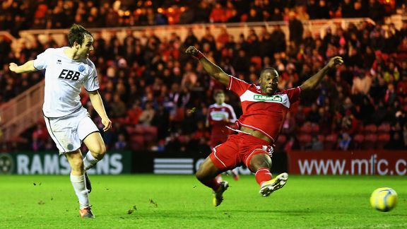 Danny Hylton scores a late equaliser for Aldershot at Middlesbrough