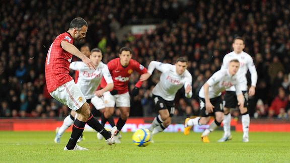 Ryan Giggs put Manchester United ahead against Fulham from the penalty spot