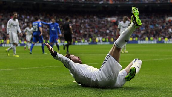Sergio Ramos celebrates netting the opener against Getafe