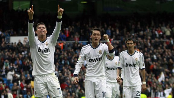 Cristiano Ronaldo netted a ten-minute hat-trick to ease Real Madrid to victory