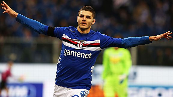 Mauro Icardi celebrates after scoring in Sampdoria's 6-0 win over Pescara