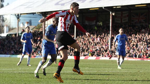 Marcello Trotta fires Brentford into the lead just before half-time