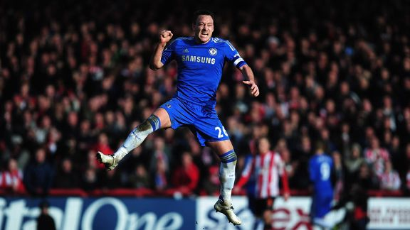 John Terry celebrates as Chelsea draw level through Fernando Torres
