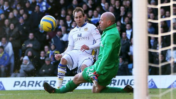 Luke Varney fires Leeds into the lead against Tottenham