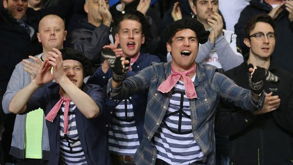 Newcastle fans get into the Gallic spirit for their game at Aston Villa