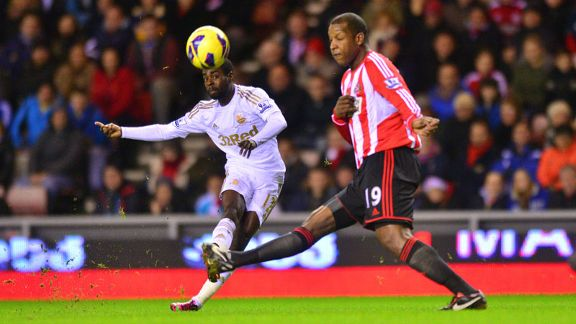 Swansea winger Nathan Dyer fires in a shot