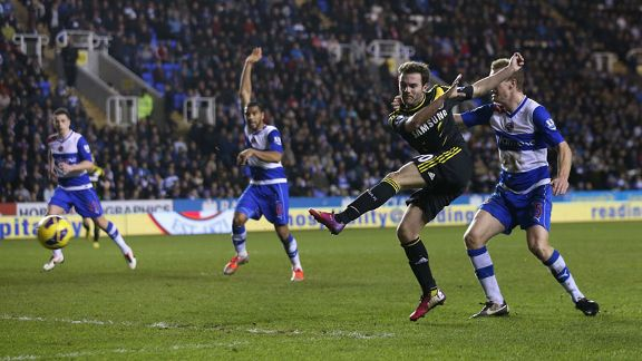 Juan Mata fires Chelsea into the lead at Reading