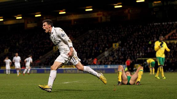 Gareth Bale celebrates after netting an equaliser for Tottenham at Norwich