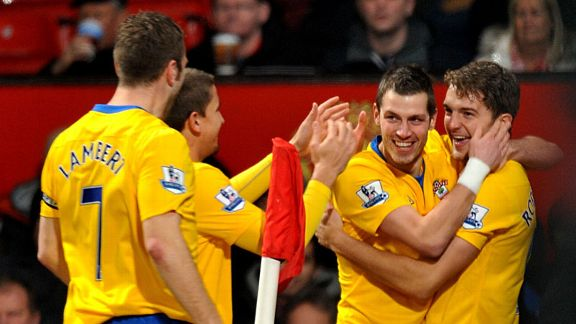 Southampton celebrate after taking a shock lead at Old Trafford through Jay Rodriguez