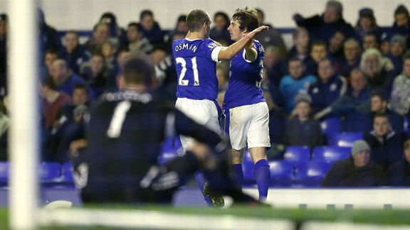 Leighton Baines celebrates with Leon Osman after putting Everton ahead against West Brom