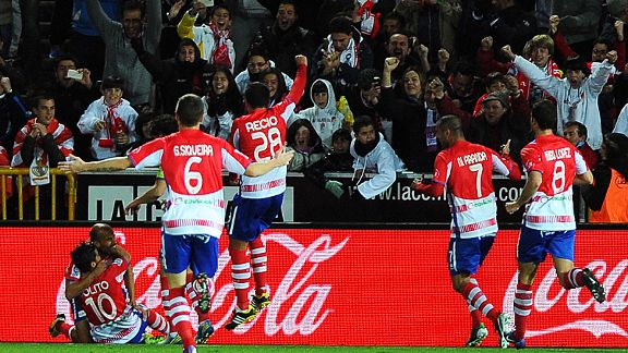 Granada celebrate after Cristiano Ronaldo put through his own net