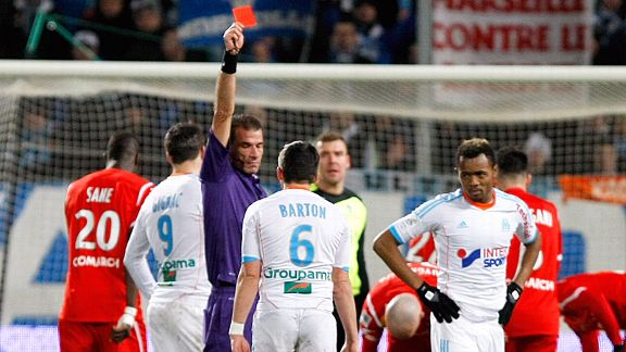 Joey Barton gets his marching orders after being shown a second yellow card in Marseille's 1-0 defeat to Nancy