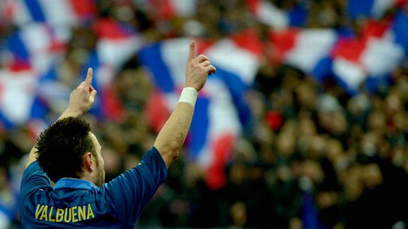 Mathieu Valbuena celebrates after putting France ahead against Germany on the stroke of half-time