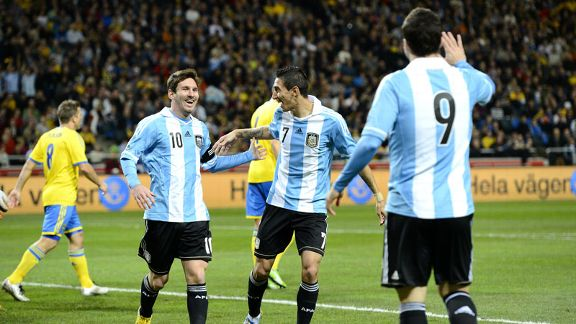 Gonzalo Higuain celebrates scoring for Argentina in their 3-2 friendly victory over Sweden
