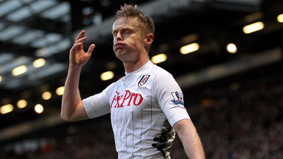 Damien Duff reacts during Fulham's 0-0 draw with Norwich