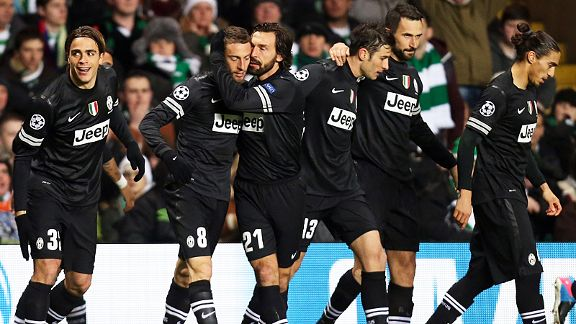 Juventus celebrate scoring their early goal at Celtic