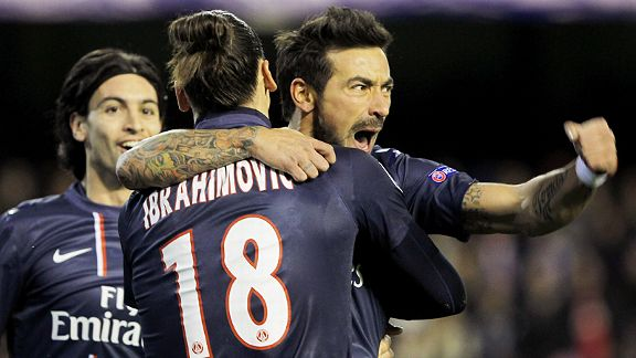 Ezequiel Lavezzi celebrates with Zlatan Ibrahimovic after giving PSG the lead at Valencia