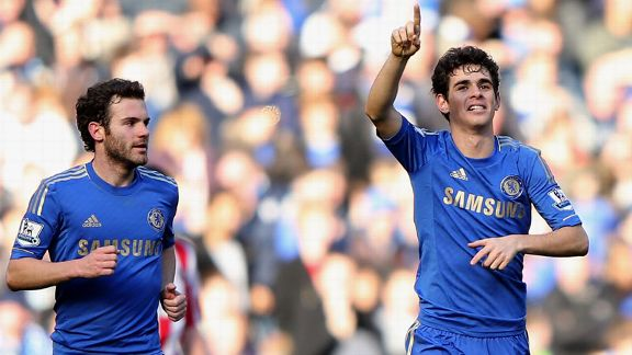 Juan Mata and Oscar celebrate during the win against Brentford