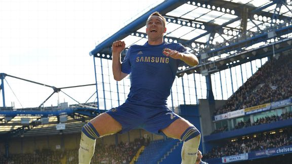 John Terry celebrates his goal during Chelsea's convincing FA Cup win against Brentford