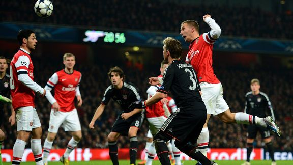 Lukas Podolski scores fpr Arsenal against Bayern Munich in the Champions League